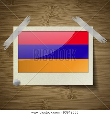 Flags Armenia At Frame On Wooden Texture. Vector