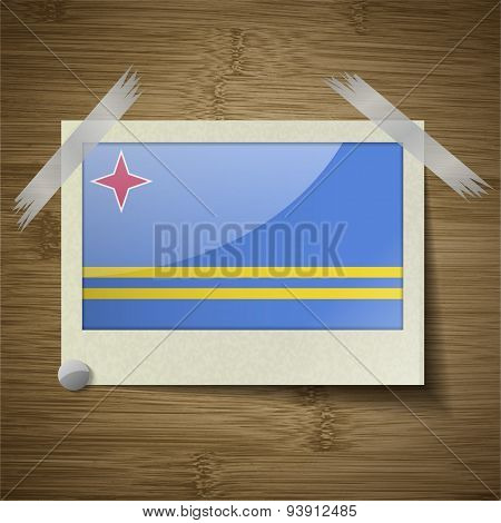 Flags Aruba At Frame On Wooden Texture. Vector