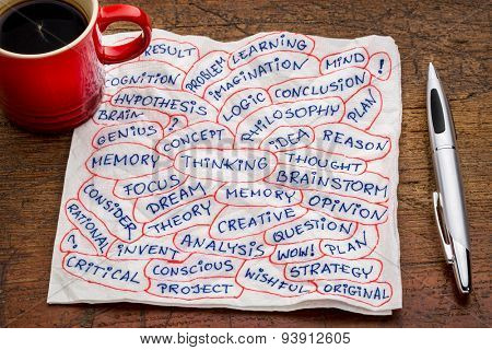 thinking and related topics - word cloud  on a napkin with a cup of coffee