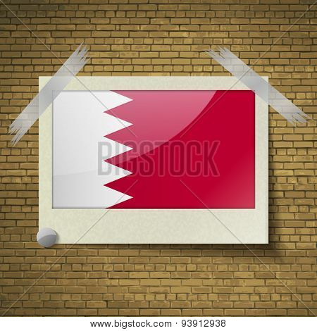 Flags Bahrain At Frame On A Brick Background. Vector