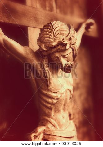 Crucified Jesus Christ  (an Ancient Wooden Sculpture)
