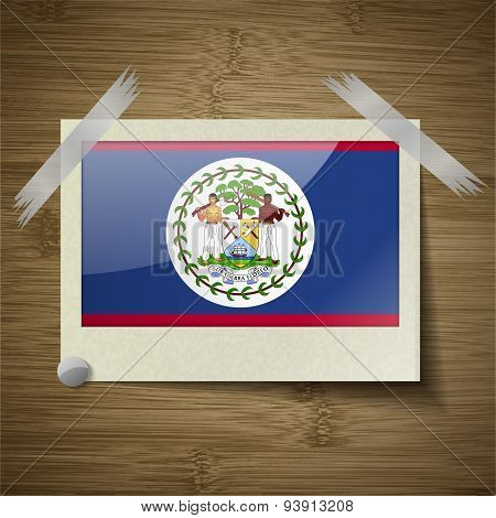 Flags Belize At Frame On Wooden Texture. Vector