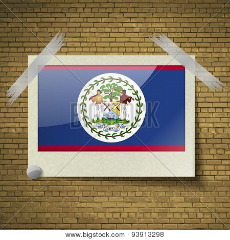 Flags Belize At Frame On A Brick Background. Vector