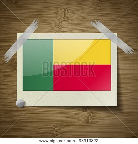 Flags Benin At Frame On Wooden Texture. Vector