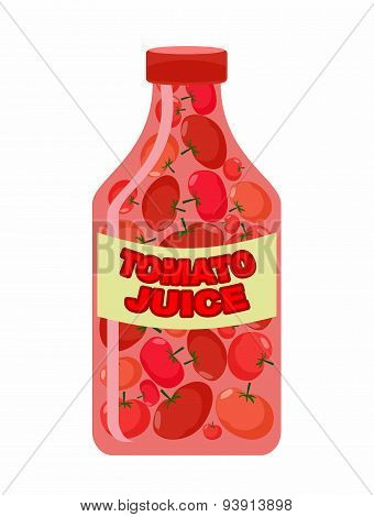 Tomato juice. Juice from fresh vegetables. Tomatoes in a transparent bottle. Vitamin drink for healt