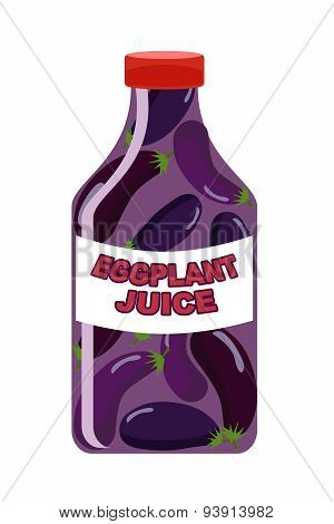 Eggplant juice. Juice from fresh vegetables. Eggplant in a transparent bottle. Vitamin drink for hea
