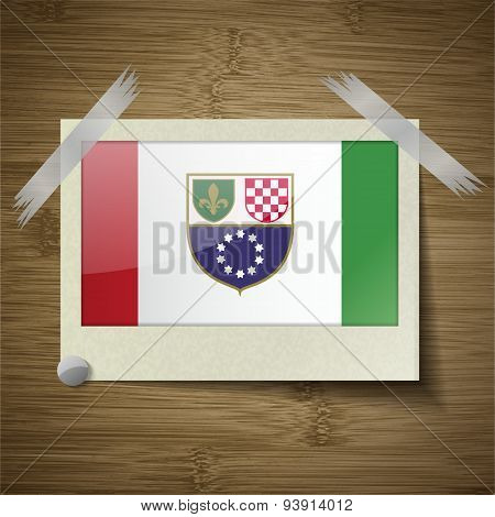 Flags Bosnia And Herzegovina Federation At Frame On Wooden Texture. Vector