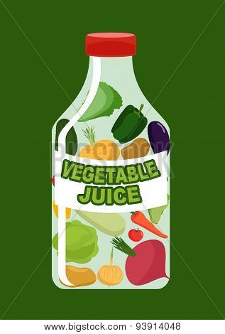 Vegetables juice. Juice from fresh vegetables. Carrot and cucumber, turnips and Aubergine in a trans