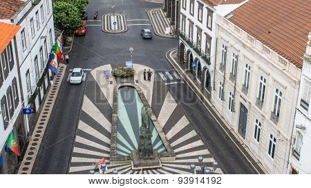 PONTA DELGADA, AZORES/PORTUGAL - JUN 15, 2015: Top view of Praca da Republica in Ponta Delgada. City is located on Sao Miguel Island (232.99 km2) Region capital under the revised constitution of 1976.