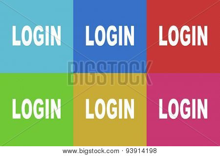 login flat design modern vector icons set for web and mobile app