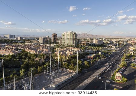 LAS VEGAS, NEVADA, USA - June 10, 2015:  Clear afternoon sky and jammed traffic on Flamingo Road east of the Las Vegas strip in Southern Nevada.