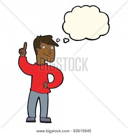 cartoon man with great idea with thought bubble