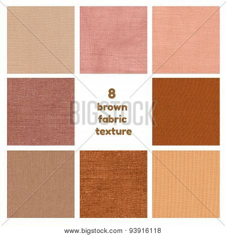 Set of 8 brown fabric texture