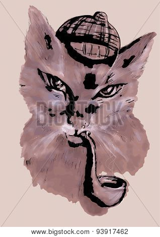Cat With Tobacco Pipe