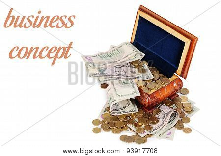 Coins And Banknotes In The Box