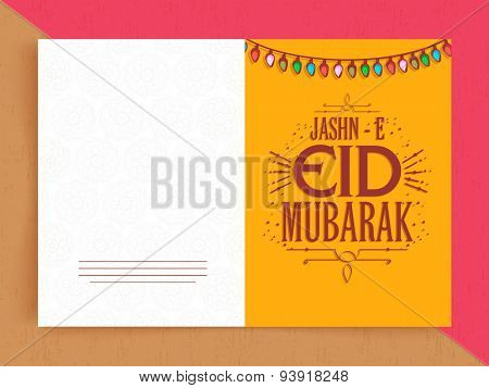 Elegant greeting card design decorated with colorful lights for Jashn-E-Eid, holy festival of Muslim community, celebration.