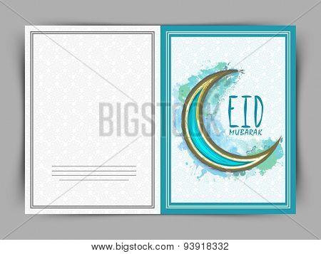 Beautiful greeting card design decorated with creative crescent moon for Islamic holy festival, Eid Mubarak, celebration.