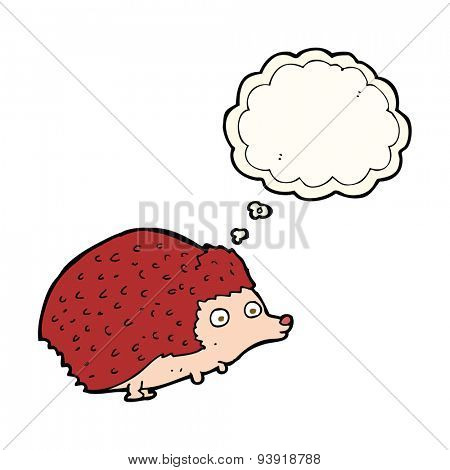 cartoon hedgehog with thought bubble
