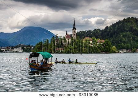 Beautiful monastery on the island in the middle of the Bled lake in Slovenia