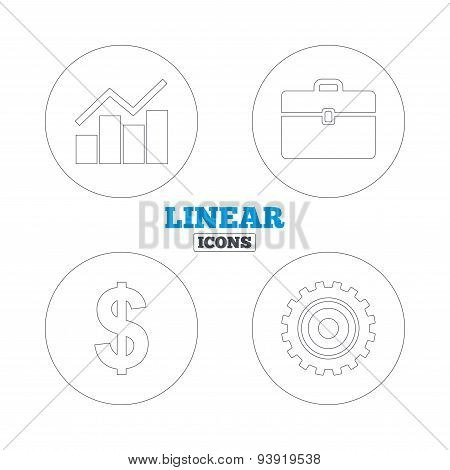 Business signs. Graph chart and case icons.