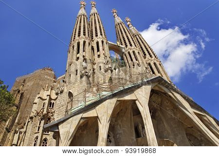 Towers Of The Sagrada Familia Cathedral In Barcelona