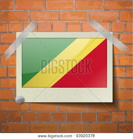 Flags Congo Republic Scotch Taped To A Red Brick Wall