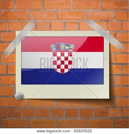 Flags Croatia Scotch Taped To A Red Brick Wall