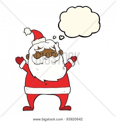jolly santa cartoon with thought bubble