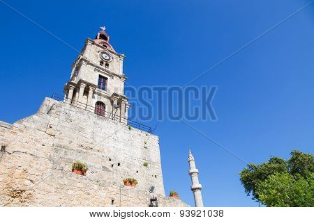 Clock Tower Of Rhodes, Greece