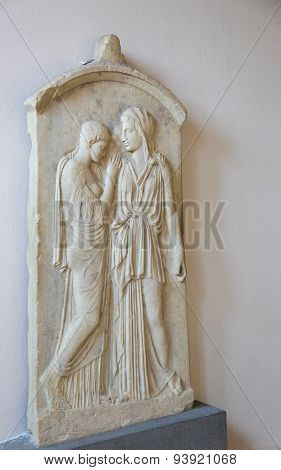 Grave Stele Of Kalliarista In The Archeological Museum In Rhodes, Greece
