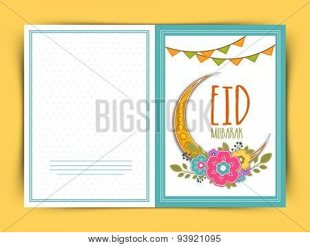 Elegant greeting card decorated with golden crescent moon, colorful flowers and buntings for holy festival of Muslim community, Eid Mubarak celebration.