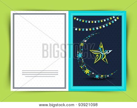 Elegant greeting card with flowers made crescent moon and Arabic calligraphy of text Eid Mubarak in star shape on lights decorated blue background.