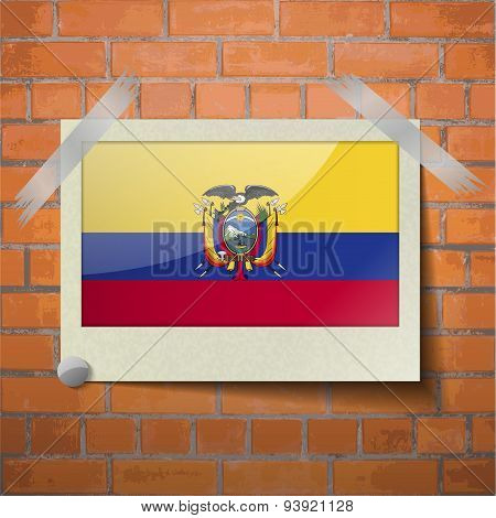 Flags Ecuador Scotch Taped To A Red Brick Wall