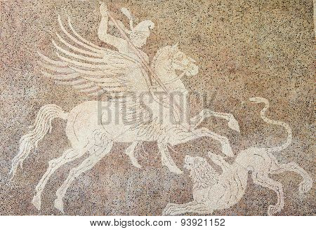 Mozaic Of A Horseman Fighting A Lion In Rhodes, Greece
