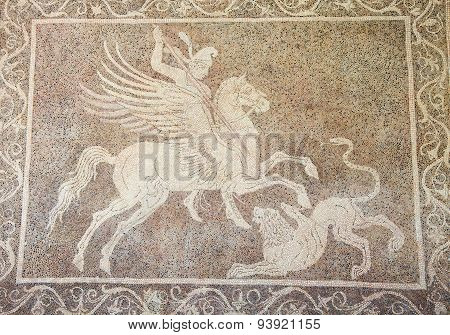 Mosaic Of A Horseman Fighting A Lion In Rhodes, Greece