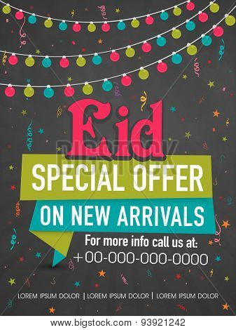 Colorful lights and stars decorated poster, banner or template for Eid Special Offer on new arrivals.