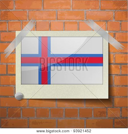 Flags Faroe Islands Scotch Taped To A Red Brick Wall
