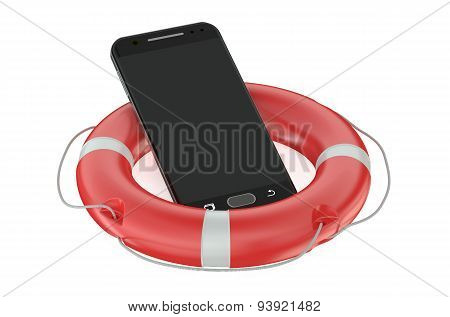 Smartphone With Red Lifebelt