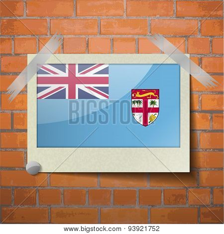 Flags Fiji Scotch Taped To A Red Brick Wall