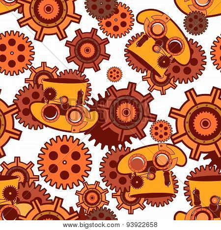 Seamless Pattern Steampunk Mechanism