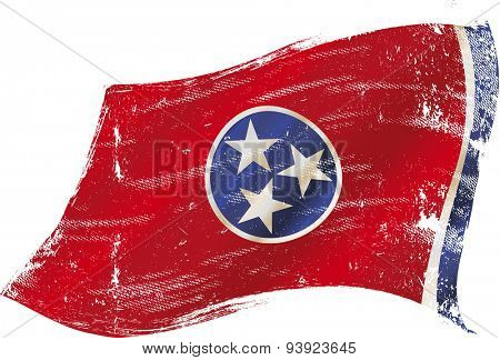 Tennessee grunge flag. Flag of Tennessee in the wind with a texture