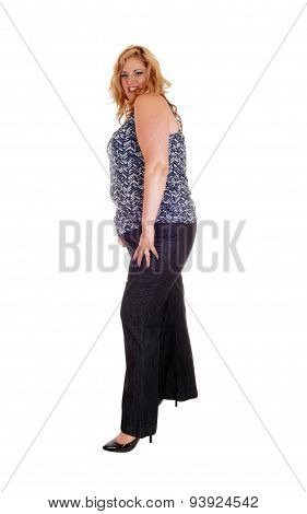 Plus Size Woman In Jeans.