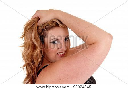 Woman With Her Hands On Head.