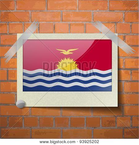 Flags Kiribati Scotch Taped To A Red Brick Wall