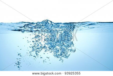 closeup of bubbles in water isolated on white background