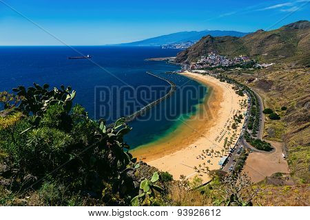 Aerial View To Las Teresitas Beach. Spain, Tenerife