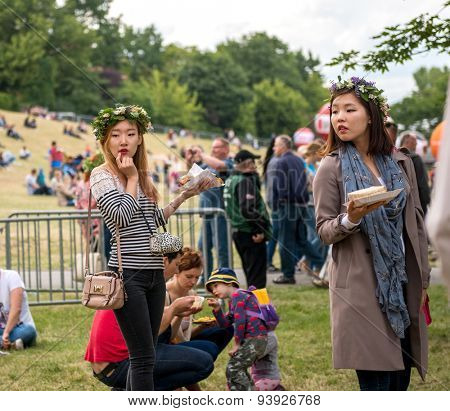 Warsaw, Poland -JUNE 20: People on a festival of midsommar near the old town in Warsaw, Poland June 20, 2015