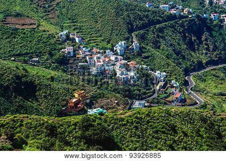 Small Village Buildings In Mountains Valley