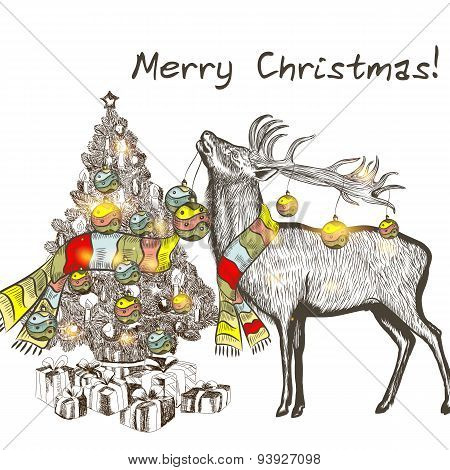 Christmas Card With Deer Holding Bauble And Decorate Christmas Tree