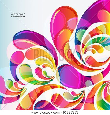 Abstract bright colorful arc-drop background. Vector.